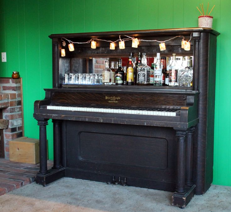 Piano Bar.  Keep the harp people!  But how to get a mirror behind the strings...