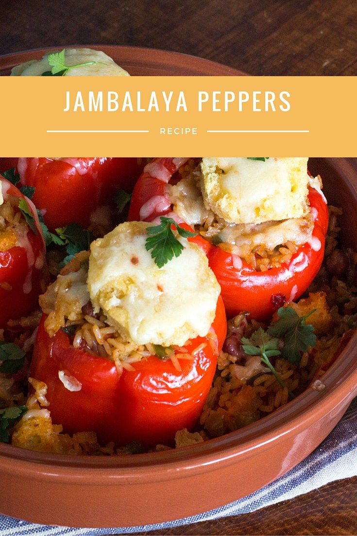 Jambalaya stuffed red peppers baked into a casserole, topped with cornbread and cheddar. #SundaySupper @Zatarains
