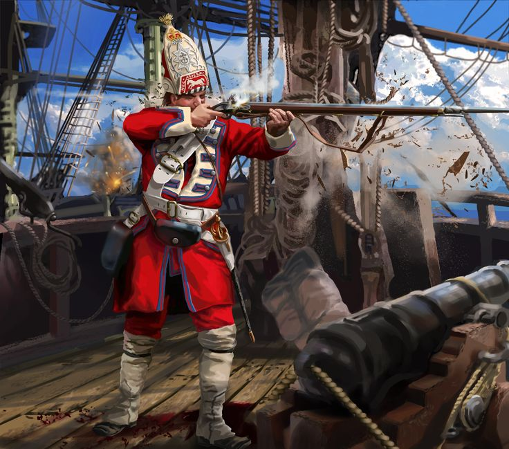 British Royal Marine in battle during the Seven Years War