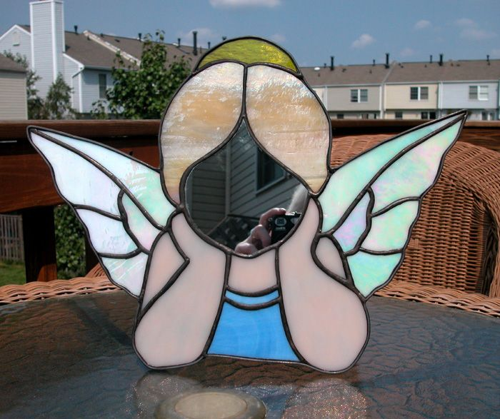 Little Angel Stained Glass Mirror by CJ Boyette - When you look in the mirror your face becomes the angel's face!!