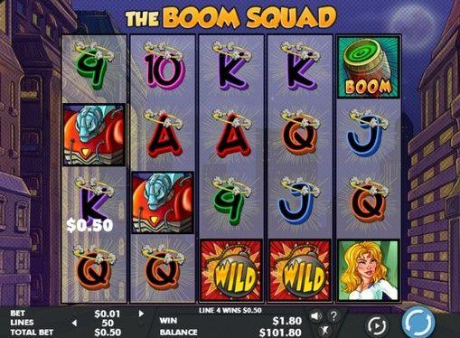 Игровой автомат The Boom Squad - играть на деньги  Игровой автомат под названием The Boom Squad получился очень ярким и увлекательным. Выгодно играть в нем на реальные деньги вам помогут три отважные супергероини. Этот аппарат обязательно понравится ценителям комиксов, а т�