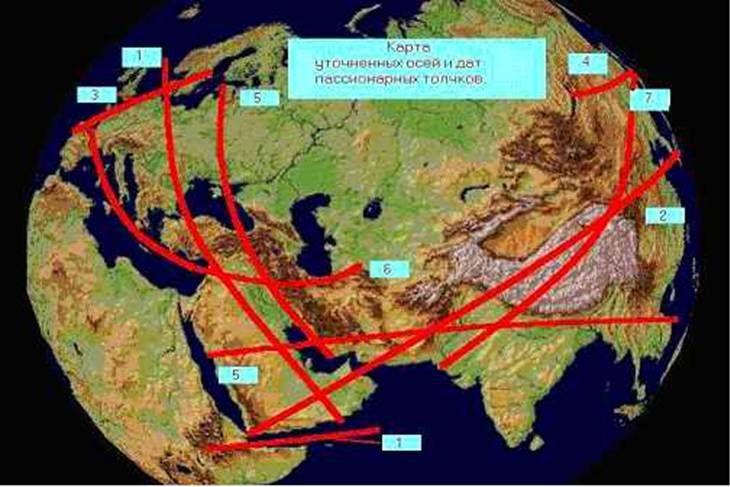 Таким образом, установлена идентичность полос-регионов мутации Л.Гумилева с траекториями тени Луны полных солнечных затмений - 5 октября 693 года, 5 апреля 916 года, 7 апреля 1000 года, 12 ноября 1026 года, 2 августа 1133 года и 23 июля 1134 года, 4 сентября 1187 года и 24 августа 1188 года, 31 января 1310 года. Теперь стало понятно, почему регионы мутаций на схеме Гумилева имеют такую странную форму.