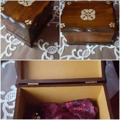 Sedef Desenli Sandık    #sedef #soil #elemeği #jewelry  #brown #handmade #renkahenkatolye #craft #pearl