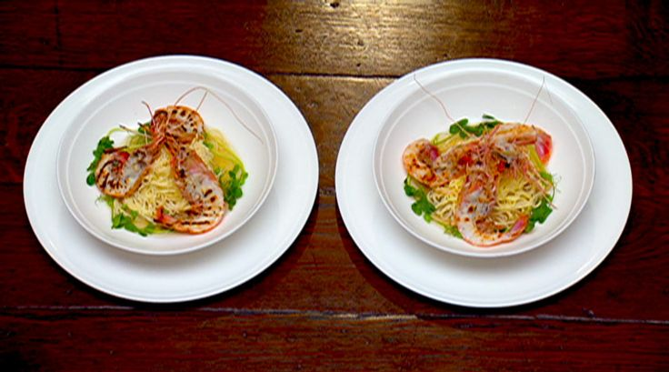 Handmade noodles with grilled scampi