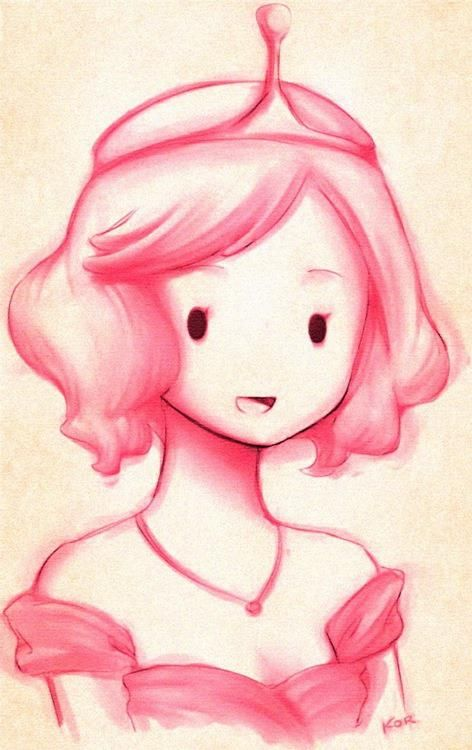 Princess Bubblegum pink art drawing. Beautiful // bubblegum^-^