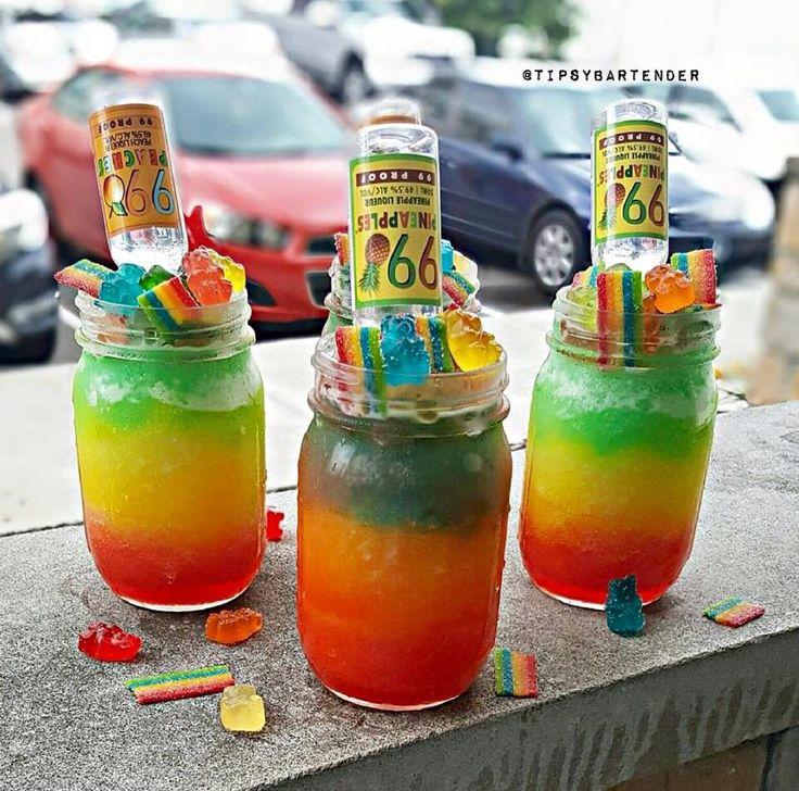 TRIPPY BEARS  Red:  Cherry Pucker  Cherry UV Vodka  Sour Mix Yellow:  Sour Mix  Triple Sec  Mango Tequila Green:  Sour Mix  Melon Liqueur  Apple UV Blue:  Blue Curacao Margarita Mix  Tequila