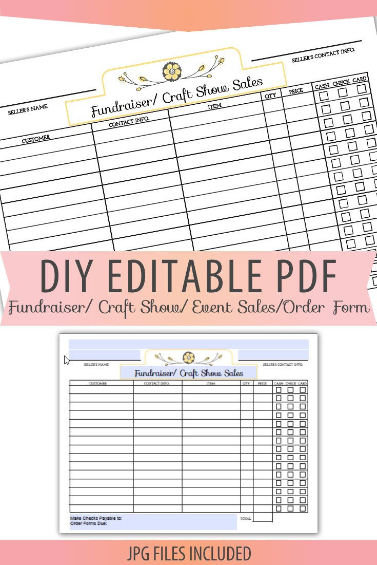 Diy Editable Printable Pdf Jpg Order Form Fundraiser Craft Show