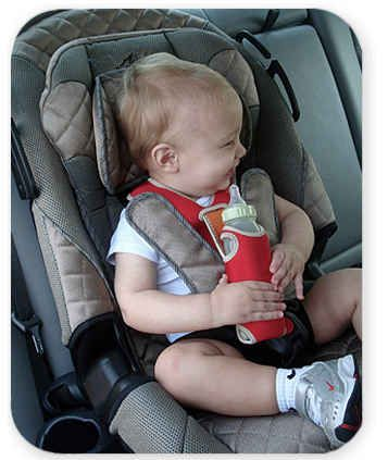 A Vest with an Attachment for a Pacifier or Bottle