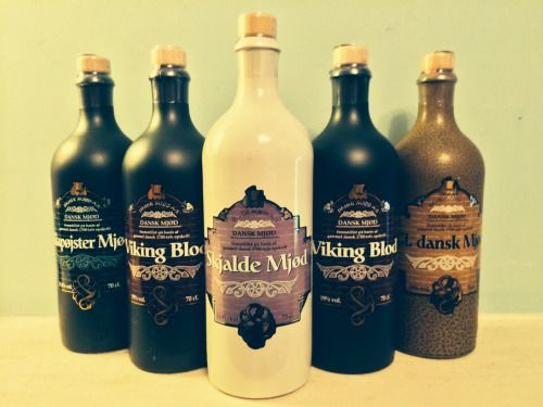 thedragontower:  lillaverser:  hedendom:  It is a good day when lots of mead arrives to my door! Left to right: Klapøjster Mjød, Viking Blod, Skjalde Mjød, more Viking Blood (no such thing as too much) and GI Dansk Mjød. All made by Dansk Mjød of Billund, Denmark. If you have not tried Viking Blod, I highly recommend it as one of the nicest meads I've ever tasted. I'll see you all in a few days with a hangover…. (Joke! Drink responsibly)  Can they ship this bottles overseas? Yes?  Dude…