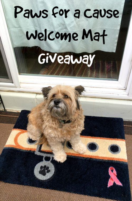 Enter to win your own Pink Ribbon Paws for a Cause Welcome Mat from Carpet One
