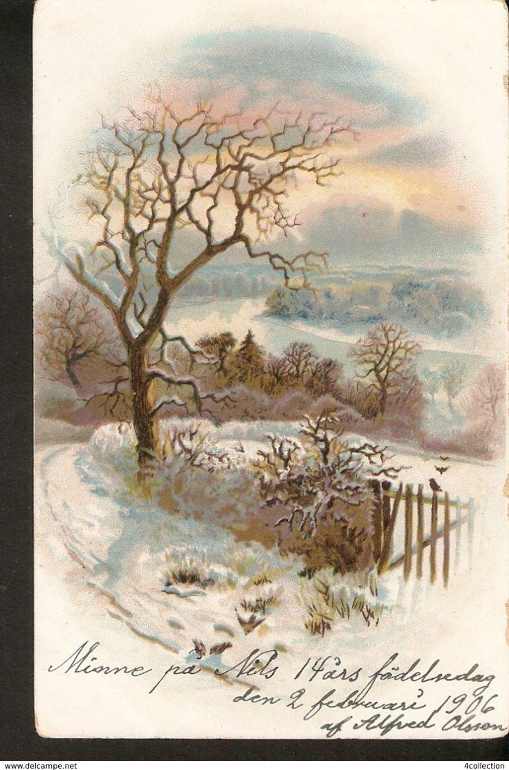 Old BREFKORT SVERIGE Postcard ART Painting Illustration - Nature View Winter - Sweden 1900s