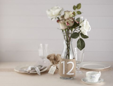 'A Vintage Affair' Wedding Guest Table Numbers in Hessian Burlap. A cute and vintage-inspired way to decorate and number your wedding guest's tables! - Cadeaux.ie #weddingplanning #weddingideas #tabledecoration