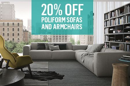Save 20% on Poliform's sofa and armchair collections. Starts Saturday 13 September to Sunday 12 October 2014.