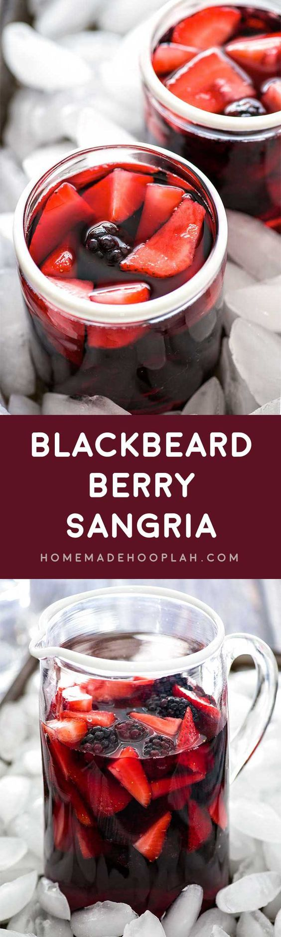 Blackbeard Berry Sangria! Blackberries and strawberries come together with a sweet red wine and a kick of Absinthe to make this very berry sangria!   HomemadeHooplah.com