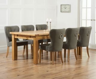 Mark Harris Rustique Solid Oak 220cm Extending Dining Table With 6 Kalim Grey Chair
