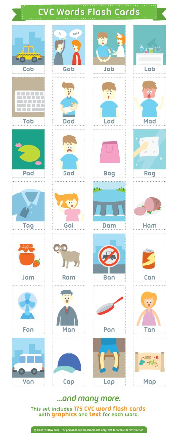 Free printable CVC (consonant vowel consonant) words flash cards. This set includes 175 cards with graphics and text. Download them in PDF format at http://flashcardfox.com/download/cvc-words-flash-cards/