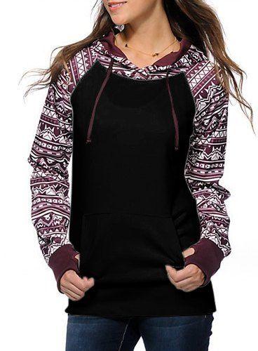 Chic Long Sleeve Geometrical Hooded Color Block Hoodie For Women
