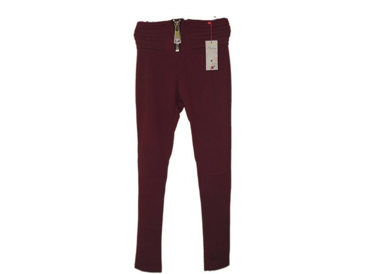 Fermuarlı Bordo Pantolon