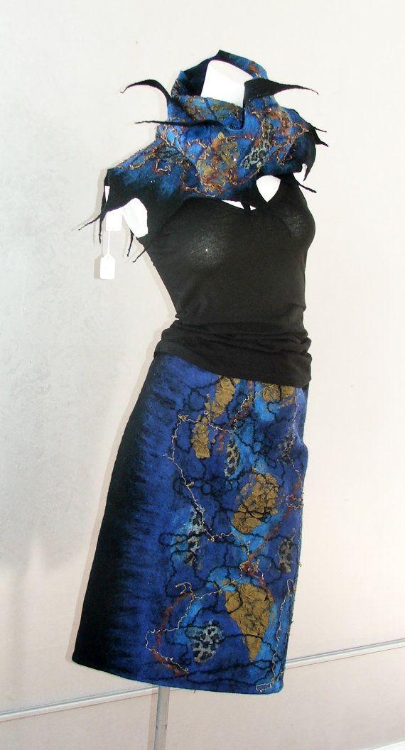 Wool skirt Nuno felted  pencil  skirt. Merino wool by BeatasSoul, $227.00