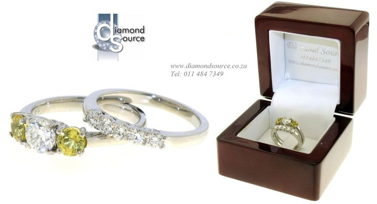 Diamond & Yellow Sapphire Wedding Set -  This beautiful wedding set we crafted from Platinum. The engagement ring is set with a 0.50ct. Round Brilliant-cut diamond and two Round Yellow Sapphires.  Please email or call us with any queries. FREE QUOTATIONS on any jewellery design you require. E: info@diamondsource.co.za W: www.diamondsource.co.za T: 011 484 7349