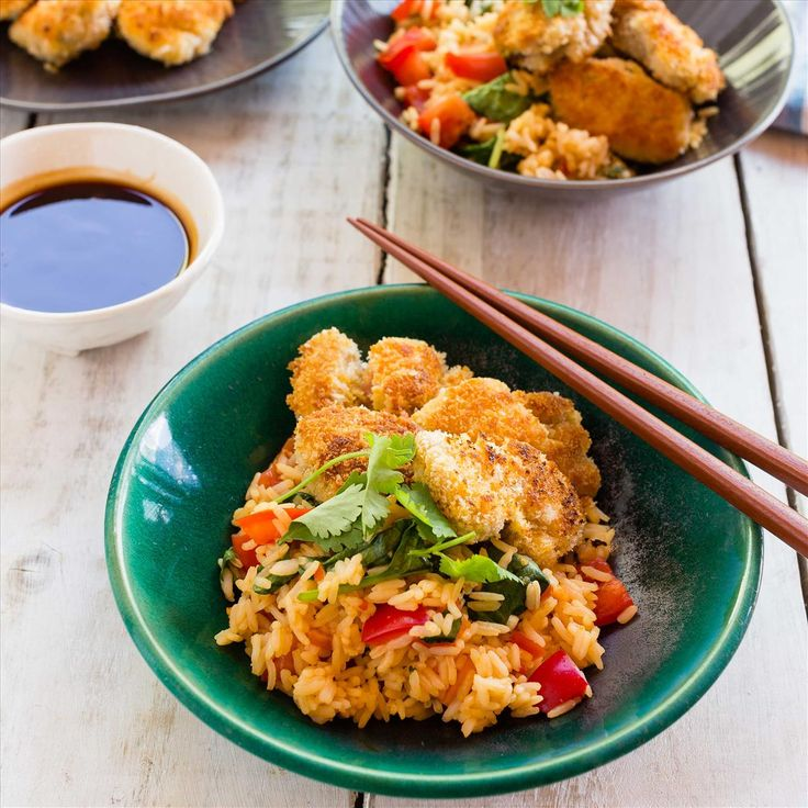 Crunchy Chicken Bites with Katsu Dipping Sauce and Veggie Rice