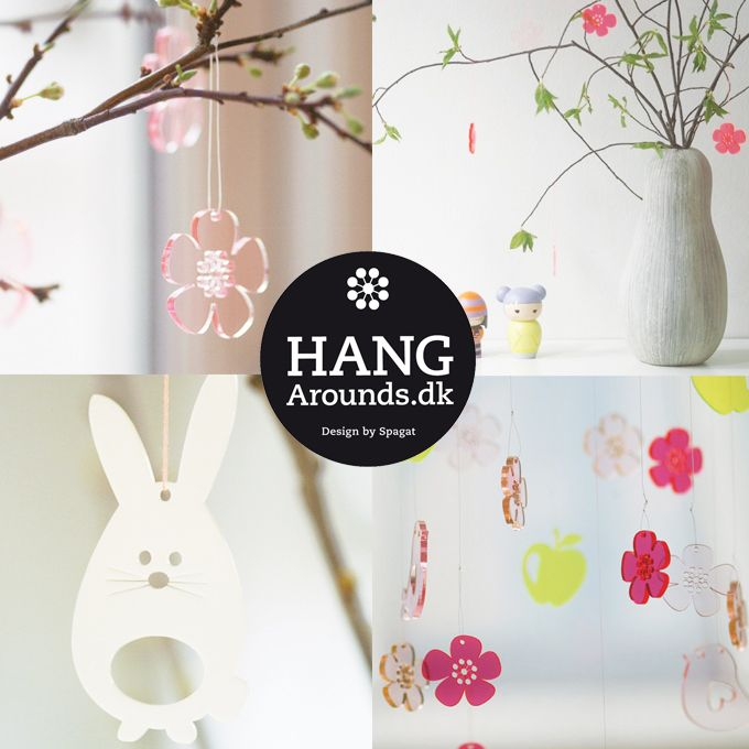 Lets decorate for spring & easter.  HangArounds in laser cut plexiglas in my shop.