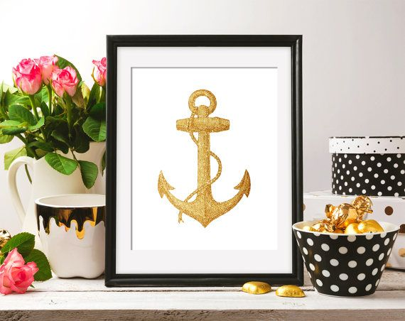 Instant Download Gold Glitter Anchor Vintage от ShabbyPrintable