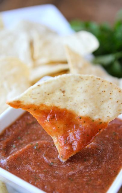 Salsa from Pioneer Woman-- Put it all in a blender: 1 can (28 Ounce) whole tomatoes with juice, 2 cans (10 Ounce) Rotel (diced tomatoes with green chilies), 1/4 cup chopped onion, 1 clove garlic minced, 1 whole jalapeño quartered And sliced thin, 1/2 teaspoon sugar, 1/4 teaspoon salt, 1/4 teaspoon ground cumin, 1/2 cup fresh cilantro (more To taste), 1/2 whole lime juiced.