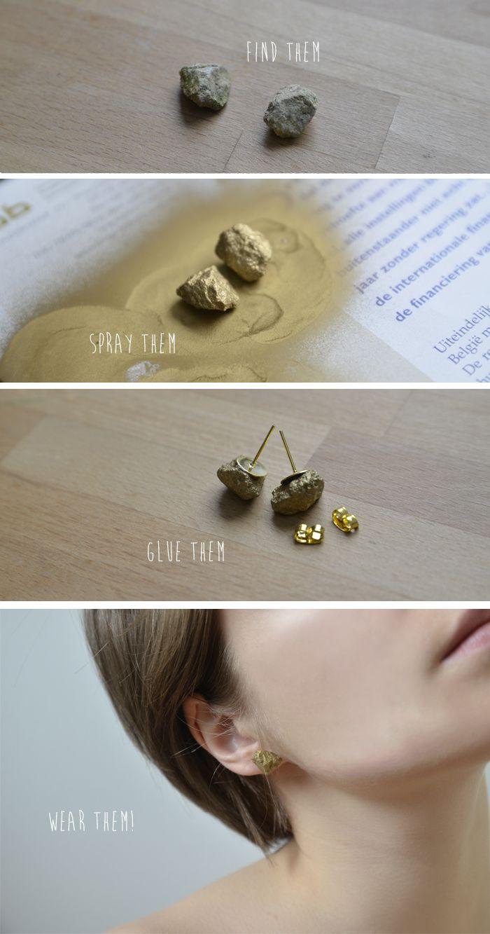 mangelmoes: DIY | pyrite stud earrings