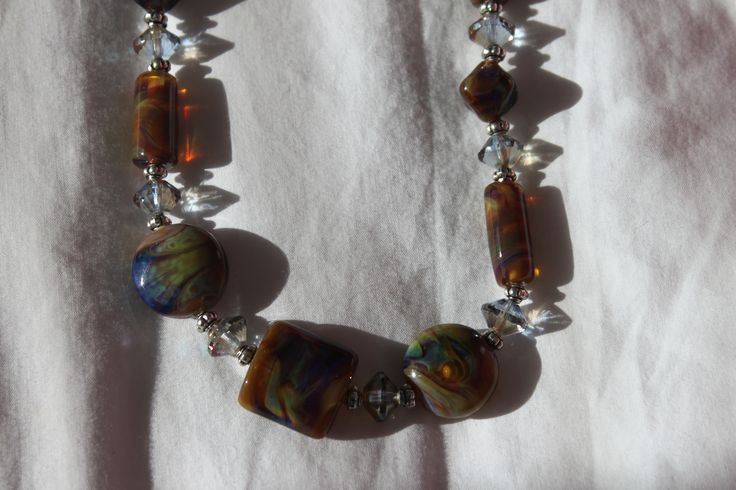 My handmade lampwork beads, combined with Czech crystals in a quirky necklace.