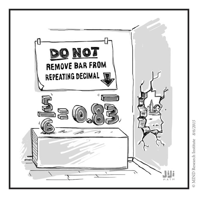 Repeating Decimal funny math cartoon from Off the Number Line