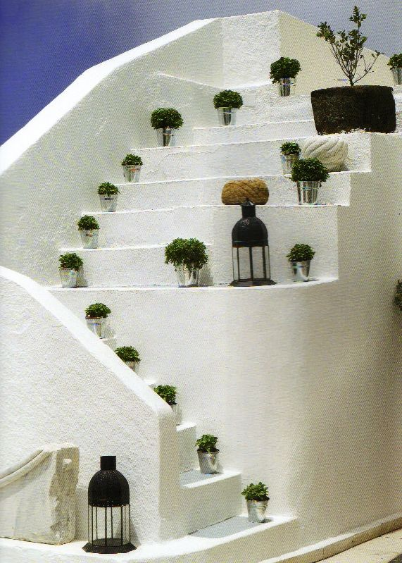 Steps decoration with fragrant basilica and lanterns.