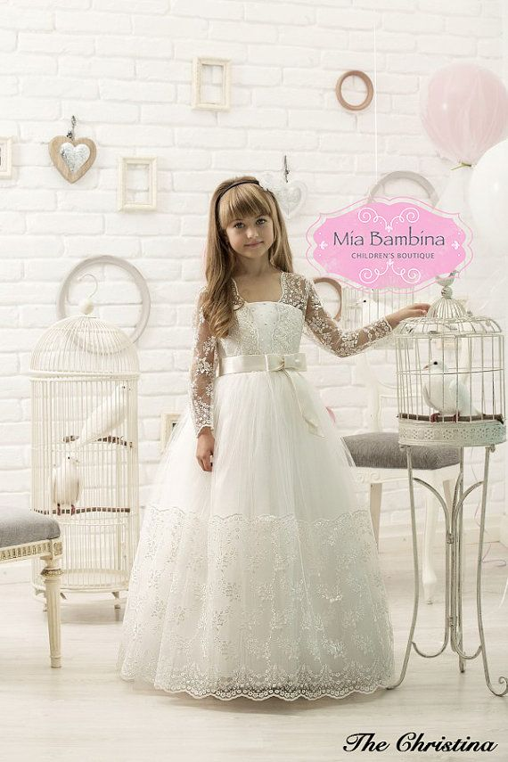 First Communion Dress  Tulle Dress  Corset by MiaBambinaBoutique