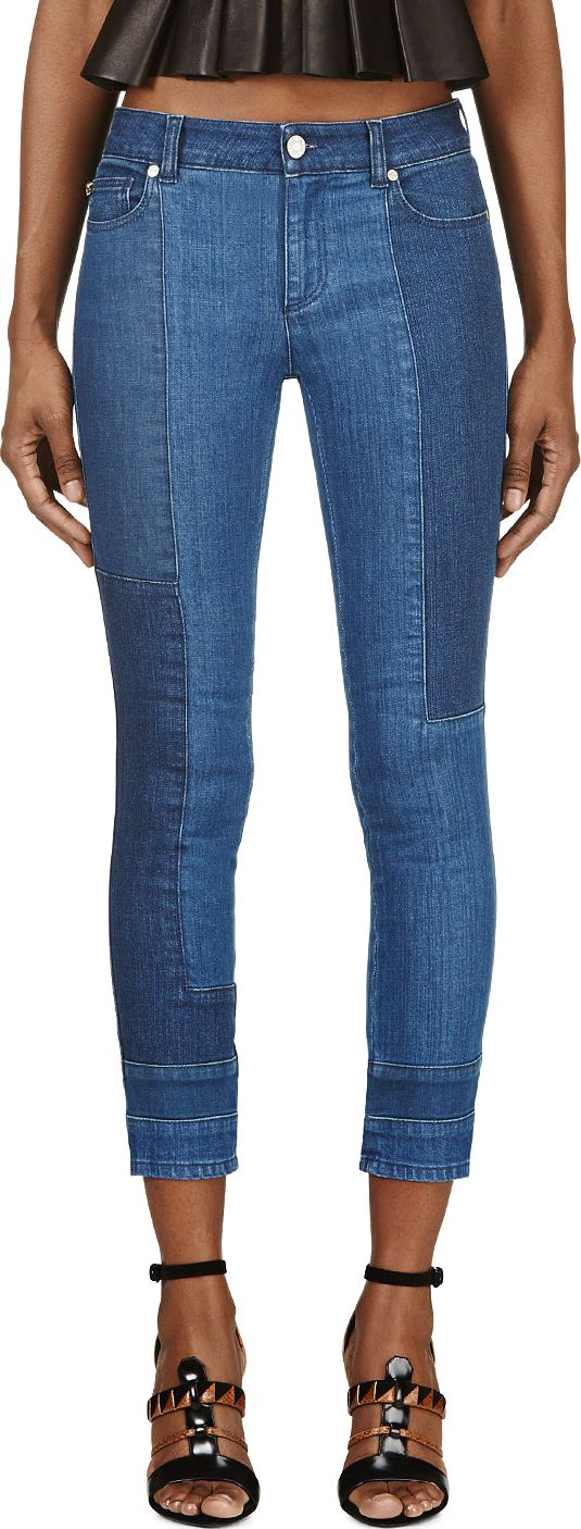 Alexander McQueen - Blue Cropped Patchwork Skinny Jeans