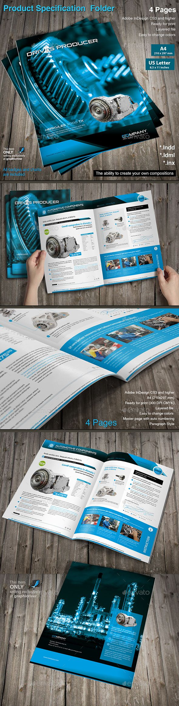 Product Specification Folder Template InDesign INDD #design Download: http://graphicriver.net/item/product-specification-folder-vol3/13978066?ref=ksioks