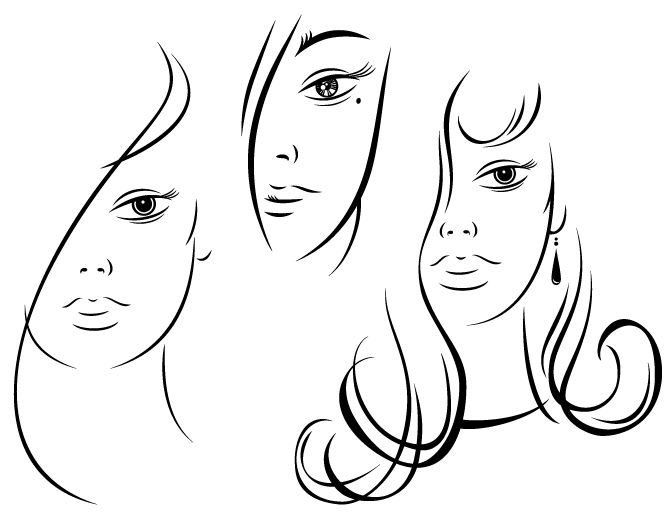 Contour Line Drawing Ink : Vector girl fa sketch pinterest contour drawings