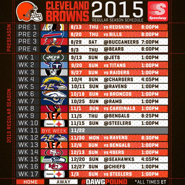 Cleveland Browns Announce 2015 Schedule