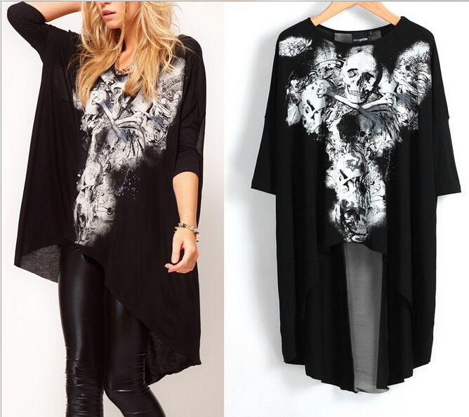 Find More T-Shirts Information about 2015 new design american and euro fashion Big love avant garde style skull Dovetail rock T shirt women tops,High Quality t-shirt women fashion,China women game Suppliers, Cheap t-shirt band from Romastory B&B Store on Aliexpress.com