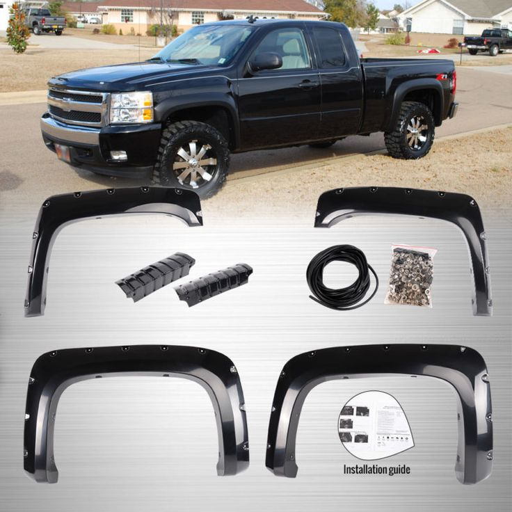 For 07-14 Chevy Silverado 1500 2500HD/3500HD Rivet Fender Flares Pocket Style BK