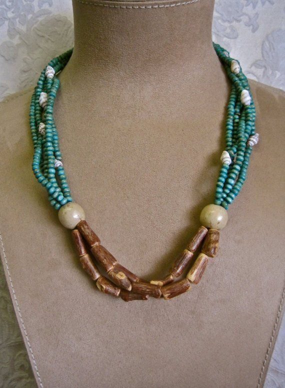 HUKILAU Necklace Beaded Mermaid Necklace Multi Strand Shells Wood Turquoise Natural Brown Tribal Hippie Festival Coachella Beach Primitive