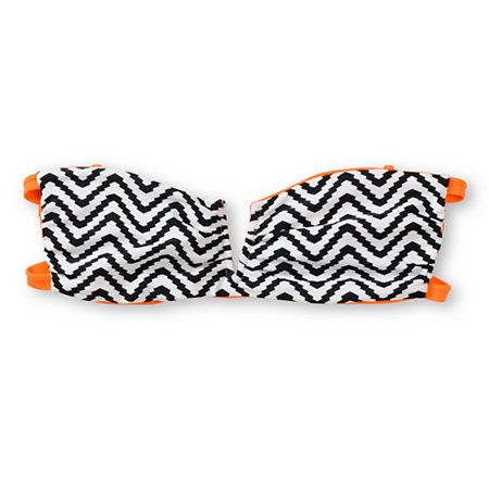 Hit the pool twice a day with two looks and one Joey bikini from Lira Swim. This reversible bikini top features a solid neon orange with black and white zigzag stripe print on the reverse side. With a V-bar cut-out front, double band back strap.
