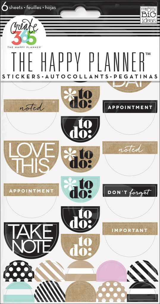 To Do Stickers - Neutral - Nothing is easier than customizing your planner with stickers! This value pack features stickers that were designed to fit perfectly in the daily columns of your weekly view in The Happy Planner™. Each package includes 6 sheets of stickers that contain icons and sayings specifically for planners.