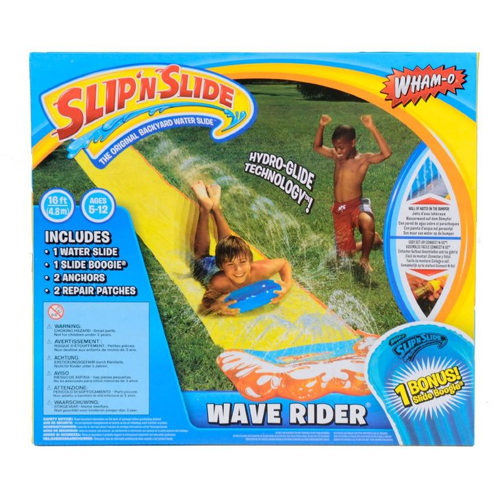 "Enjoy this Wild Wave Rider with Bonus Slide Boogie. 16"" hydro-glide Technology which creates beads of water for faster slide action. Connect 'N Go self-filing water bumper. Includes bonus inflatable s"