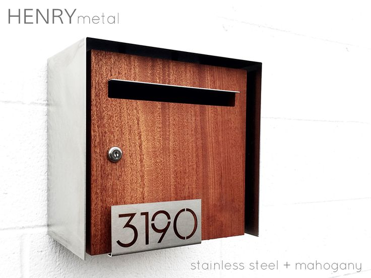 henry modern mailbox stainless steel mahogany - Modern Mailboxes