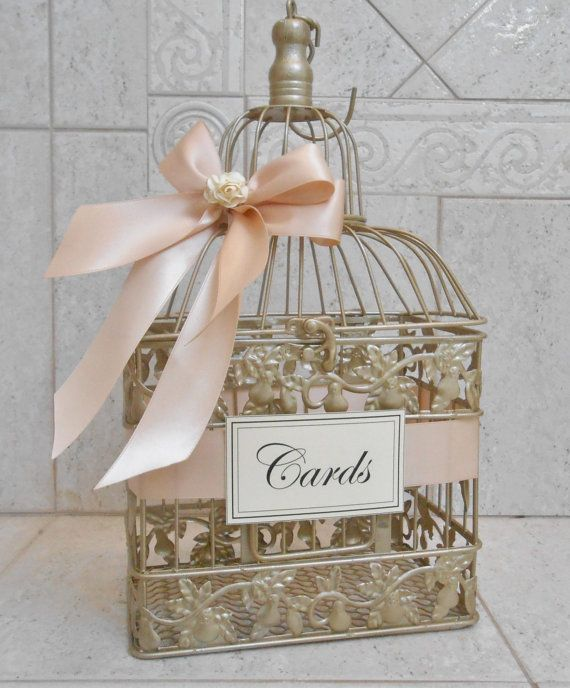 Small Champagne Gold  and Blush Wedding Card Box / by ThoseDays