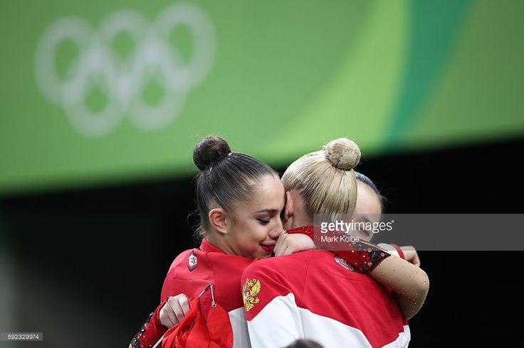 Margarita Mamun and Yana Kudryavtseva of Russia celebrate during the Women's…