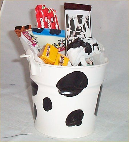 Gift Baskets - Pin it :-) Follow us, CLICK IMAGE TWICE for Pricing and Info . SEE A LARGER SELECTION of gift baskets at http://azgiftideas.com/product-category/gift-baskets/ - gift ideas , gift set -   Cow Gift Basket Tin Bucket Cow Tails Candy Chocolate Figurine