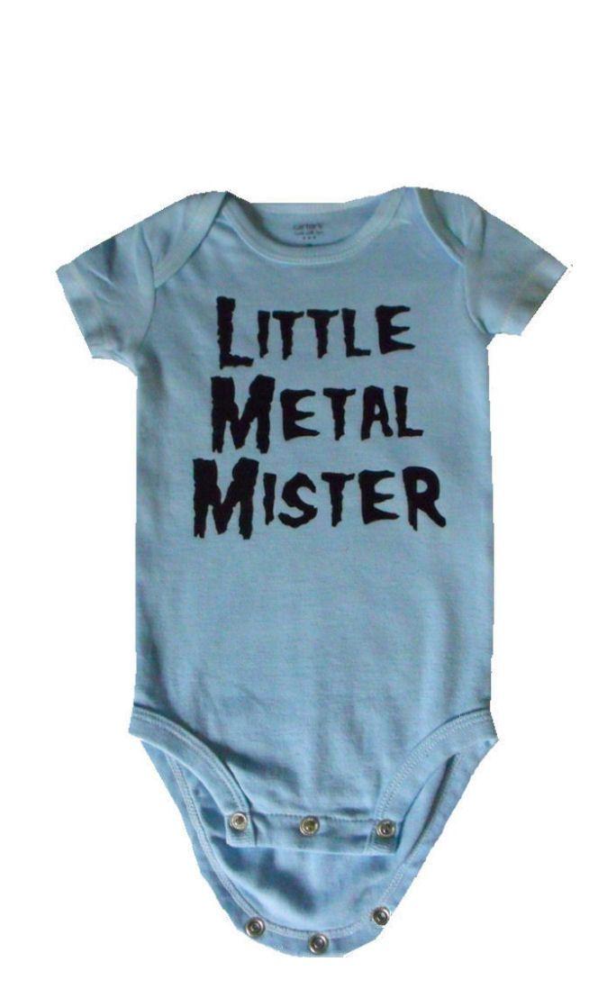 Little Metal Mister onesie for heavy metal baby boy in size newborn or 3 months light blue bodysuit. $15.00, via Etsy.