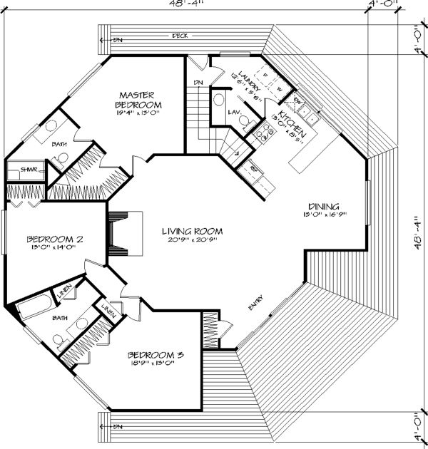 Main Floor Plan image of The Octagon House Plan The only problem is one missing bathroom door! LOL