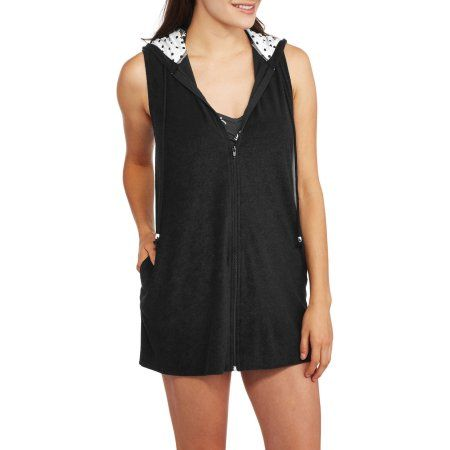 Catalina Women's Zip-Front Hooded Terry Swim Cover-Up, Size: Small, Black